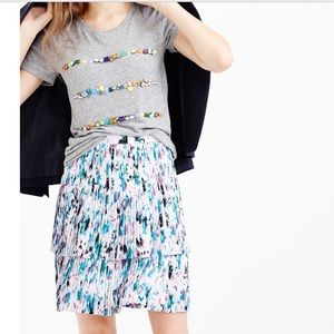 J. Crew Size 4 Two tier Pleated Watercolor  Skirt